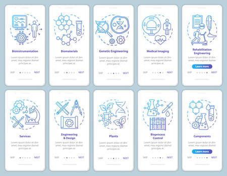 Bioengineering onboarding mobile app page screen vector template. Medical imaging, services. Biomaterials. Walkthrough website steps with linear illustrations. UX, UI, GUI smartphone interface concept
