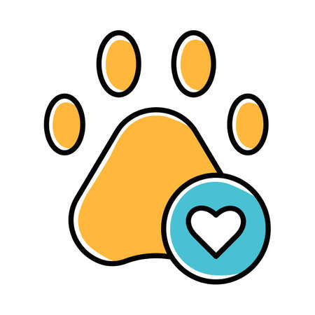 Pets allowed yellow color icon. Animal welcome. Pet friendly area. Veterinarian clinic. Shelter, hotel for animals. Apartment amenities for dog and cat owners. Isolated vector illustration Stock Vector - 134835941