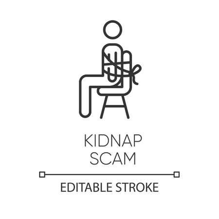 Kidnap scam linear icon. Virtual kidnapping. Ransom money request. Blackmailing. Family emergency scam. Thin line illustration. Contour symbol. Vector isolated outline drawing. Editable stroke Ilustrace