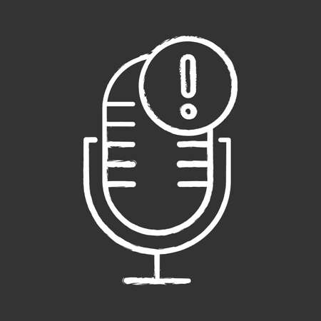 Microphone technical error chalk icon. Sound recorder connection problem idea. Voice control mistake. Recording equipment. Speech recognition tool. Isolated vector chalkboard illustration Standard-Bild - 134811590