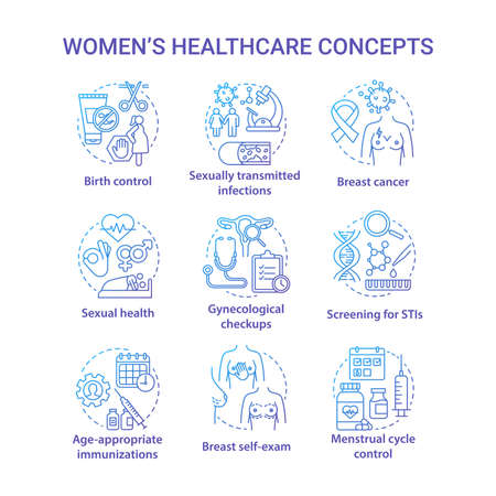 Women healthcare blue concepts icons set. Female medical treatment idea thin line illustrations. Checkups, screening, self exam. Menstruation, birth, STIs. Vector isolated outline drawings