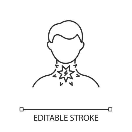 Sore throat linear icon. Illness symptome. Common cold. Grippe disease. Healthcare, medicine. Fever suffering. Thin line illustration. Contour symbol. Vector isolated outline drawing. Editable stroke Stock fotó - 134835948