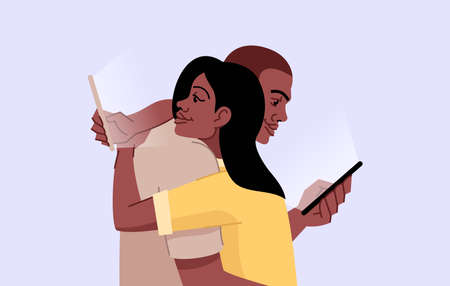 Smartphone addiction flat vector illustration. Gadgets dependence. Lack of personal interaction. Couple hugging and scrolling cellphones isolated cartoon characters on blue background