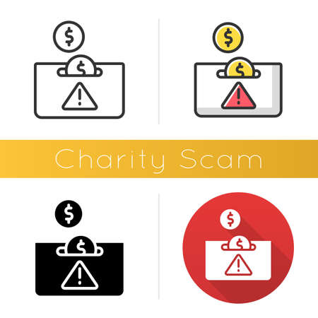 Charity scam icon. Sham charity. Fake donation request. False fundraiser. Money theft. Cybercrime. Fraudulent scheme. Flat design, linear and color styles. Isolated vector illustrations