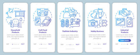 Local production onboarding mobile app page screen vector template. Household products. Hobby business. Walkthrough website steps with linear illustrations. UX, UI, GUI smartphone interface concept 向量圖像