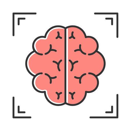 Icono de color de escaneo cerebral. Neuroimagen. Análisis de la estructura del sistema nervioso. Procedimiento médico no quirúrgico. Examen hospitalario. Prueba clínica profesional. Neurología. Ilustración de vector aislado