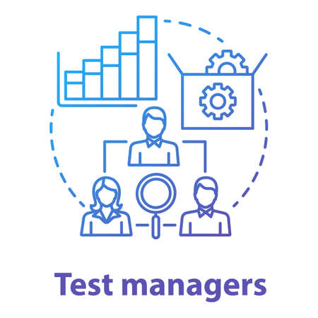 Test managers concept icon. Software development idea thin line illustration. App programming. System functionality check. IT project management team. Vector isolated outline drawing