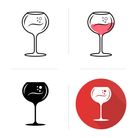 Chardonnay wineglass icons set. Alcohol beverage with bubbles. Sweet aperitif drink. Tableware, glassware. Bar, restaurant. Flat design, linear, black and color styles. Isolated vector illustrations