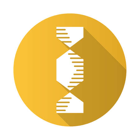 Hexagonal DNA helix yellow flat design long shadow glyph icon. Deoxyribonucleic, nucleic acid. Spiraling strands. Chromosome. Molecular biology. Genetic code. Genetics. Vector silhouette illustration Illustration