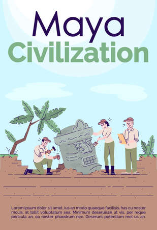 Maya civilization brochure template. Flyer, booklet, leaflet concept with flat illustrations. Vector page cartoon layout for magazine. Archeological excavations advertising invitation with text space