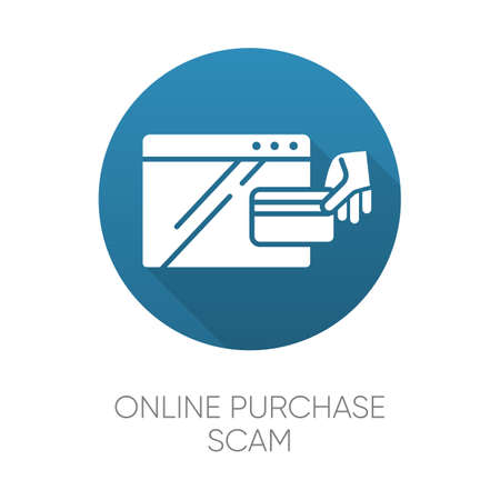 Online purchase scam blue flat design long shadow glyph icon. Internet shopping scheme. Illegitimate seller. Fake retailer website. Cybercrime. Phishing. Consumer fraud. Vector silhouette illustration Ilustrace