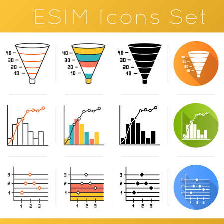 Chart and graph icons set. Funnel marketing model. Conversion plan. Pareto curve. Point and figure chart. Finance report. Flat design, linear, black and color styles. Isolated vector illustrations 版權商用圖片 - 134836034