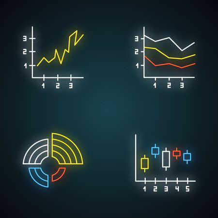 Chart and graph neon light icons set. Radial diagram with increasing values. Area charts with segments and sections. Vertical scatter histogram. Glowing signs. Vector isolated illustrations