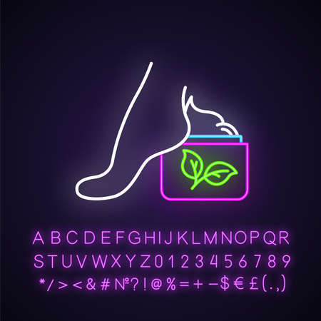 Foot cream jar neon light icon. Skincare product. Footcare lotion. Paraben free. Dry skin solution. Organic cosmetics. Glowing sign with alphabet, numbers and symbols. Vector isolated illustration