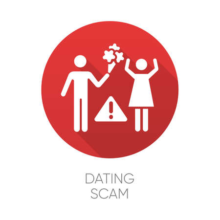 Dating scam red flat design long shadow glyph icon. Online romance fraud. Fake dating service. False romantic intentions, love promises. Money request. Confidence trick. Vector silhouette illustration