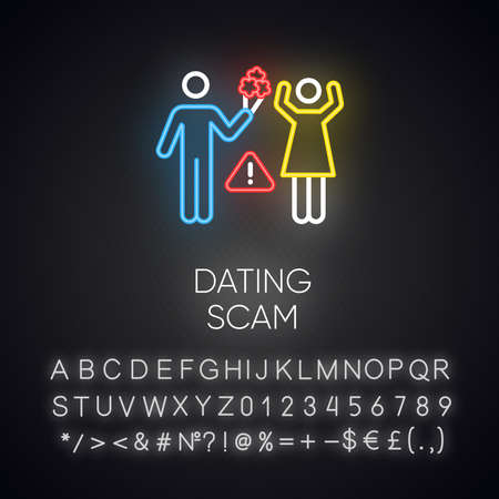 Dating scam neon light icon. Online romance fraud. Fake dating service. False romantic intentions. Confidence trick. Glowing sign with alphabet, numbers and symbols. Vector isolated illustration