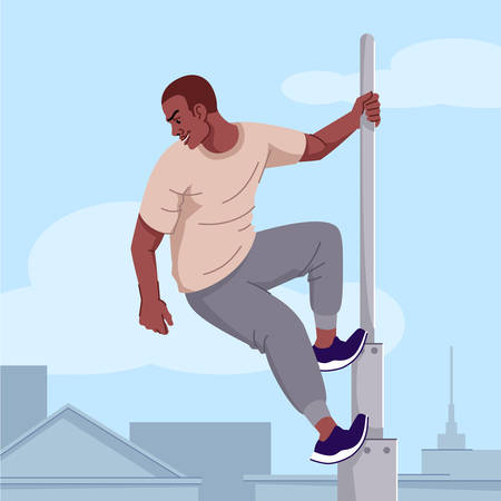 Adrenaline addiction flat vector illustration. Extreme sports obsession. Risky tricks dependence. Thoughtless young man, daredevil climbing high tower without safety equipment cartoon character