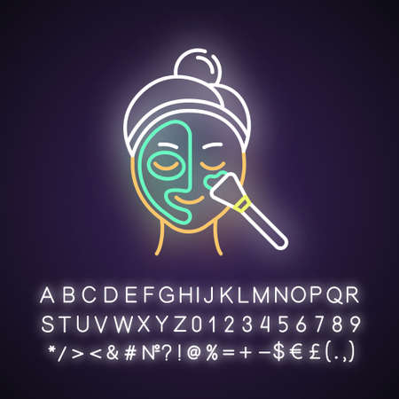 Applying thermal mask neon light icon. Skin care procedure. Face product for cleansing. Dermatology, cosmetics, makeup. Glowing sign with alphabet, numbers and symbols. Vector isolated illustration