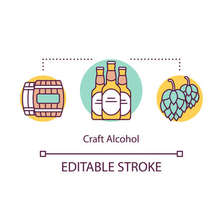 Craft alcohol concept icon. Beer local production idea thin line illustration. Small bussiness. Regional brewery products. Craft distillery. Vector isolated outline drawing. Editable stroke