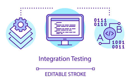 Integration testing concept icon. Examine units in groups idea thin line illustration. Software testing process. Indicating issues and problems. Vector isolated outline drawing. Editable stroke