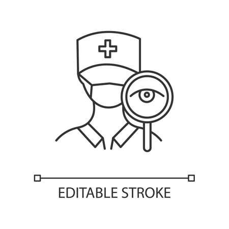 Doctor visit linear icon. Common cold aid. Clinic and hospital worker with stethoscope. Healthcare aid. Thin line illustration. Contour symbol. Vector isolated outline drawing. Editable stroke Illustration