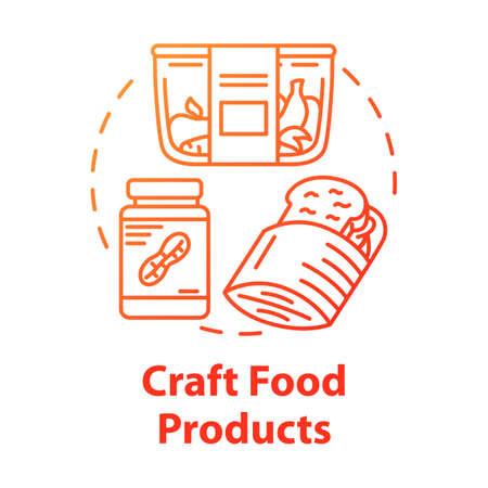Ambachtelijke voedingsmiddelen concept icoon. Knäckebröd, pindakaas, fruit. Vegetarisch dieet. Ambachtelijk eten. Gezonde maaltijd idee dunne lijn illustratie. Vector geïsoleerde overzichtstekening