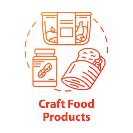 Craft food products concept icon. Crispbread, peanut butter, fruits. Vegetarian diet. Artisanal food. Healthy meal idea thin line illustration. Vector isolated outline drawing Illusztráció