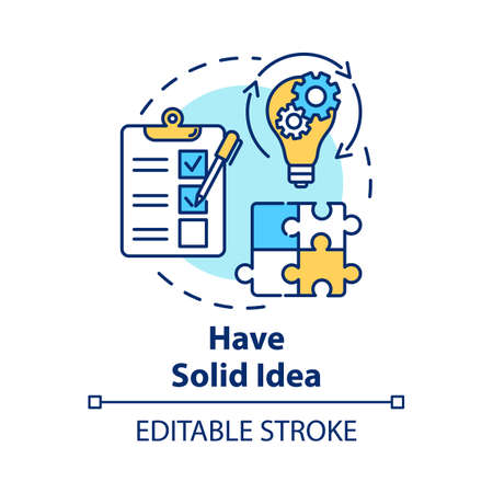 Have solid idea concept icon. Planning and management. Direct movement to goal. Process control. Business plan idea thin line illustration. Vector isolated outline drawing. Editable stroke Illusztráció