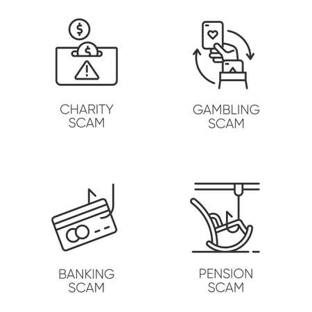 Scam types linear icons set. Charity, pension fraudulent scheme. Gambling, banking trick. Financial scamming. Thin line contour symbols. Isolated vector outline illustrations. Editable stroke