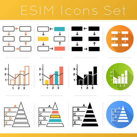 Chart and graph icons set. Connection and wiring diagram. Mixed chart. Pyramid hierarchy. Business organization. Economy. Flat design, linear, black and color styles. Isolated vector illustrations 版權商用圖片 - 134836107