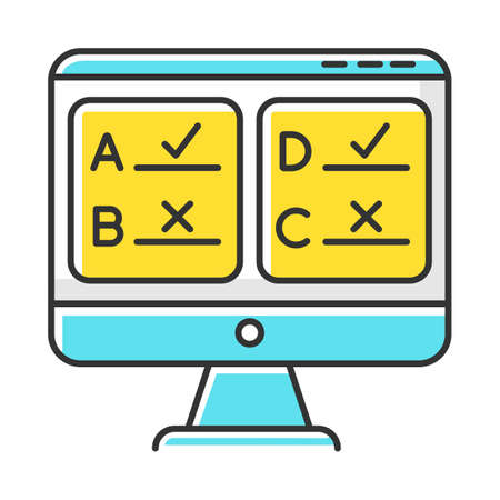 Online survey color icon. Multiple answer questionnaire. Social research. Consumer, customer satisfaction. Feedback. Evaluation. Data collection. Sociology. Isolated vector illustration