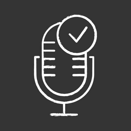 Microphone installation chalk icon. Sound recorder connected idea. Successful connection. Voice control, speech recognition process. Electronic device install. Isolated vector chalkboard illustration Standard-Bild - 134811197