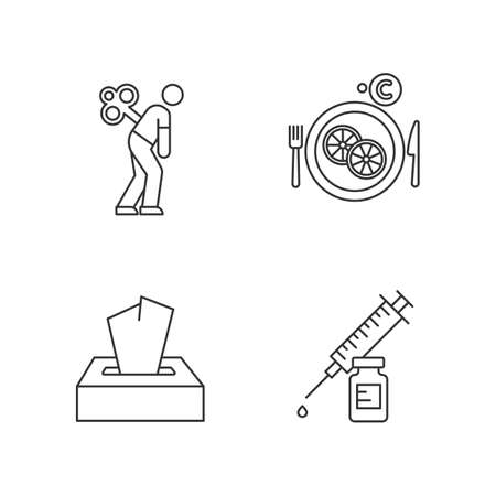 Common cold linear icons set. Fatigue and exhaustion. Vitamin C in lemon slices. Disposable wipes. Vaccination. Thin line contour symbols. Isolated vector outline illustrations. Editable stroke Illustration