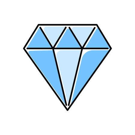 Diamond color icon. Flat crystal. Decorative brilliant. Jewelry element. Blue gemstone, precious stone. Polygonal geometric figure. Abstract shape. Isometric form. Isolated vector illustration Иллюстрация