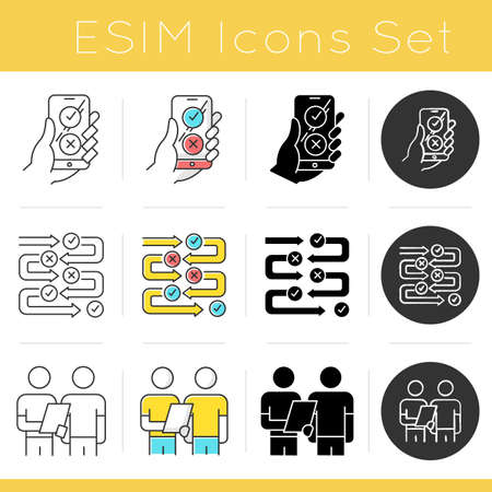 Survey icons set. Agree and disagree option. Share opinion. Progress stages. Structure and workflow. Two people Interviewing. Flat design, linear, black and color styles. Isolated vector illustrations