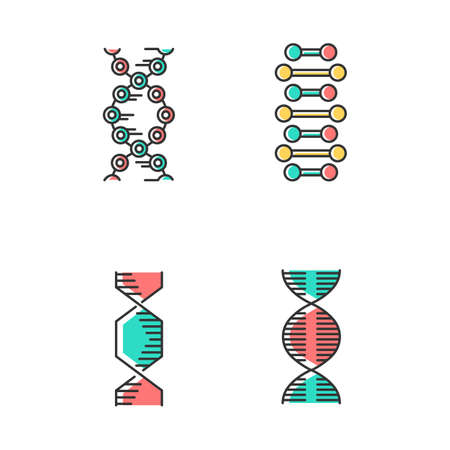 DNA spiral chains color icons set. Deoxyribonucleic, nucleic acid helix. Spiraling strands. Chromosome. Molecular biology. Genetic code. Genome. Genetics. Medicine. Isolated vector illustrations