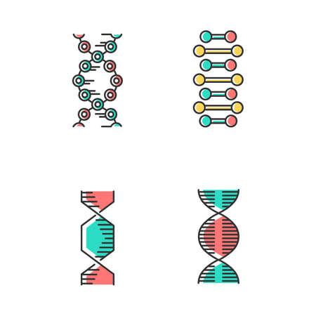 DNA-Spiralketten-Farbsymbole gesetzt. Desoxyribonukleinsäure, Nukleinsäurehelix. Spiralförmige Stränge. Chromosom. Molekularbiologie. Genetischer Code. Genom. Genetik. Medizin. Isolierte Vektorillustrationen