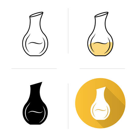 Decorative decanter with alcohol beverage icons set. party aperitif drink. Bar, winery. Glassware, tableware. Flat design, linear, black and color styles. Isolated vector illustrations