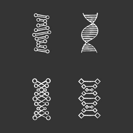 DNA chains chalk icons set. Deoxyribonucleic, nucleic acid helix. Spiraling strands. Chromosome. Molecular biology. Genetic code. Genome. Genetics. Medicine. Isolated vector chalkboard illustrations