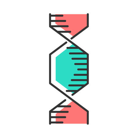 Hexagonal DNA helix color icon. Deoxyribonucleic, nucleic acid structure. Spiraling strands. Chromosome. Molecular biology. Genetic code. Genome. Genetics. Isolated vector illustration Иллюстрация