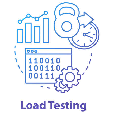 Load testing concept icon. Software development stage idea thin line illustration. System perfomance at different conditions. Non-functional testing. Vector isolated outline drawing Illusztráció
