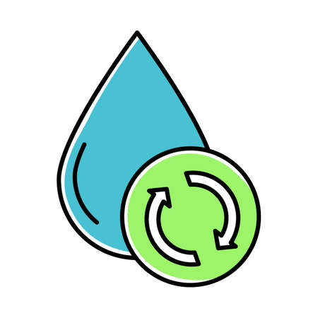 Water filtration, purification blue color icon. Conservation of planet aquatic resources. Waste water treatment technology. Recycling hidrosystem. Apartment amenities. Isolated vector illustration