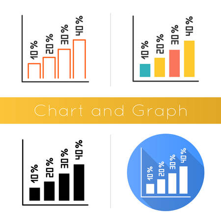 Vertical histogram icon. Increasing interest rate segment bars. Graph with numbers. Business diagram. Marketing research. Economy. Flat design, linear and color styles. Isolated vector illustrations Ilustracja