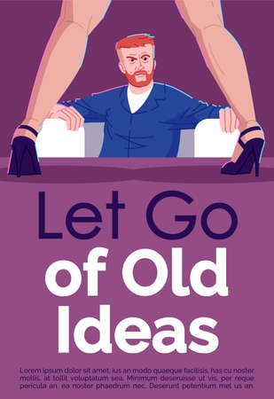 Let go of old ideas brochure template. Sex addiction treatment. Psychological help. Flyer, booklet, leaflet concept with flat illustrations. Vector page cartoon layout for magazine with text space