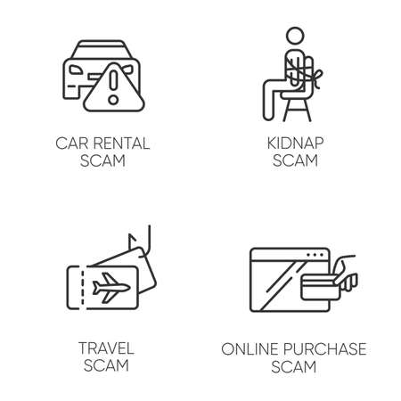 Scam types linear icons set. Car rental, online purchase fraudulent scheme. Kidnap, travel trick. Financial scamming. Thin line contour symbols. Isolated vector outline illustrations. Editable stroke