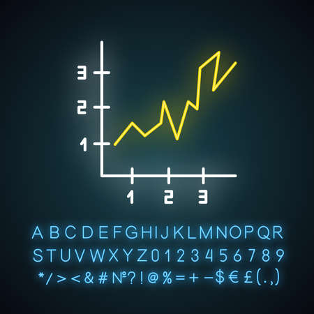 Area chart neon light icon. Rising graph with indexes. Increasing diagram. Infographic. Business visualization. Glowing sign with alphabet, numbers and symbols. Vector isolated illustration Ilustração