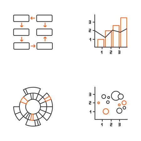 Chart and graph linear icons set. Data connection. Mixed chart. Sunburst radial diagram. Scatter bubble chart. Thin line contour symbols. Isolated vector outline illustrations. Editable stroke 向量圖像