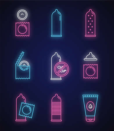 Safe sex neon light icons set. Male contraceptive. Female condoms. Pregnancy prevention. Birth control. Water-based lube. AIDs protection. Glowing signs. Vector isolated illustrations