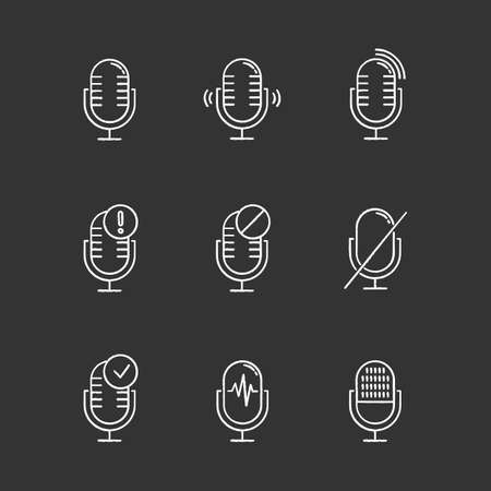 Microphone connection problem chalk icons set. Sound recorders idea. Connected mics. Different voice commands. Music equipment. Modern digital devices. Isolated vector chalkboard illustrations Standard-Bild - 134811652