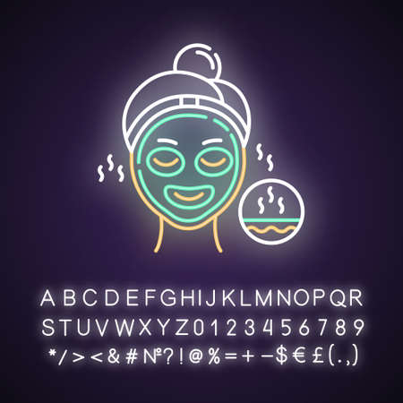 Using thermal mask neon light icon. Skincare procedure. Facial treatment to open up pores. Dermatology, cosmetics, makeup. Glowing sign with alphabet, numbers and symbols. Vector isolated illustration Imagens - 134836359